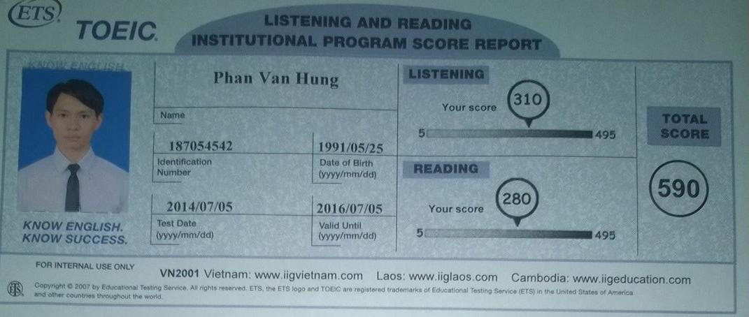Phan Văn Hưng thi được 590 điểm Toeic ngay sau 1 khóa học