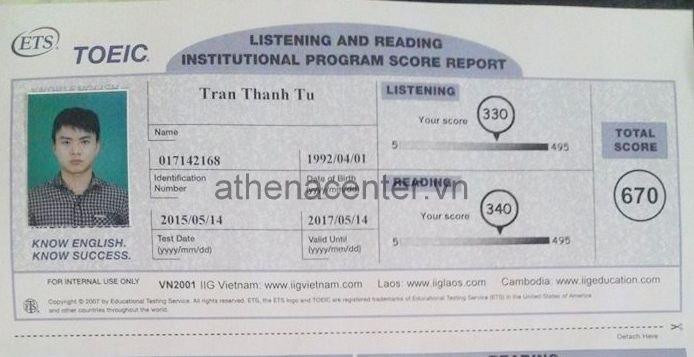 Nỗ lực học Toeic từ con số 0 lên 670 điểm