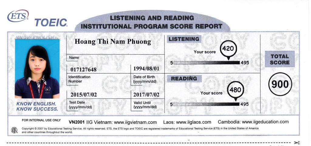 Điểm toeic Hoàng Nam Phương - trung tâm luyện ti toeic