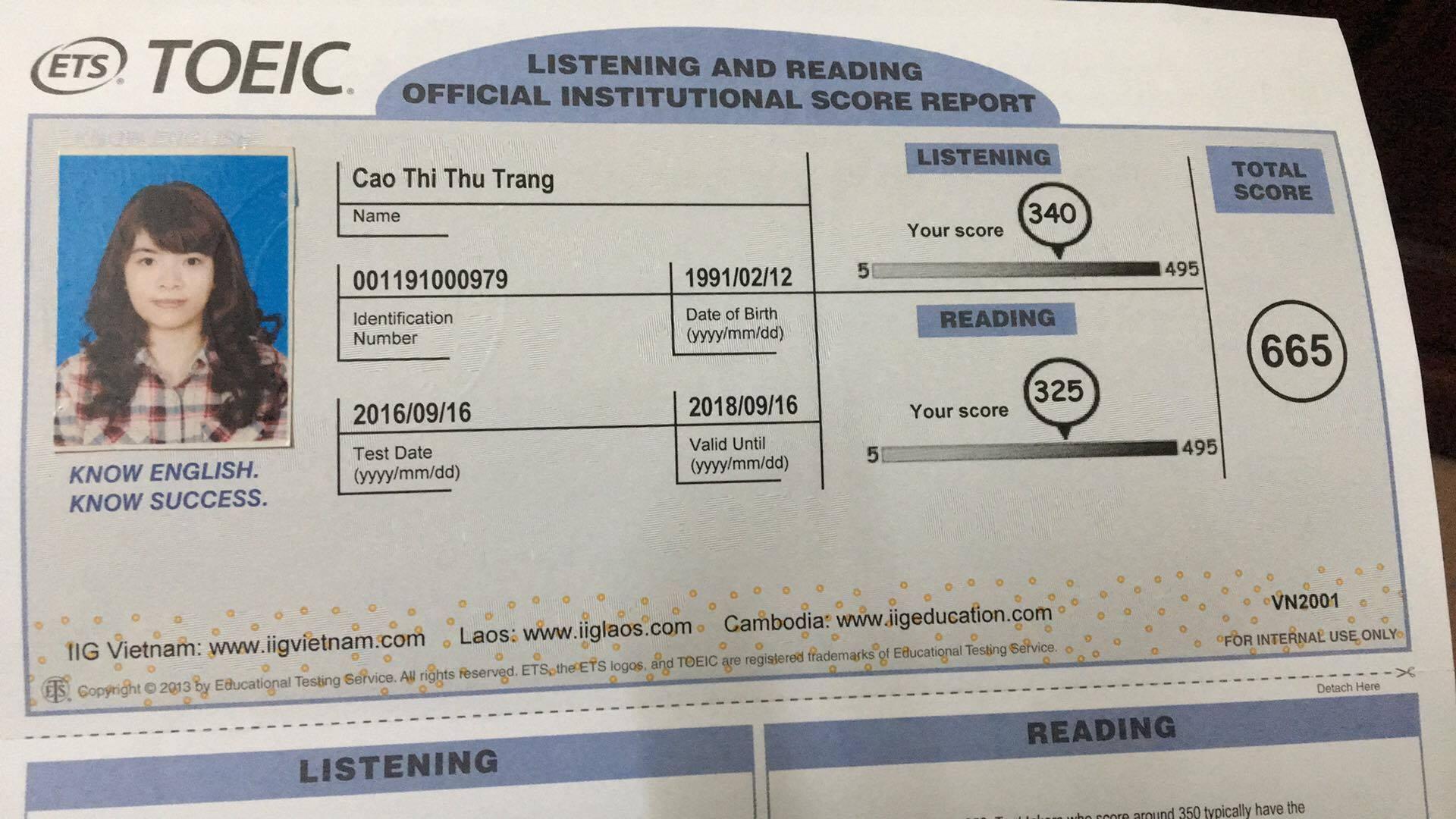 bảng điểm toeic Thu Trang thumb