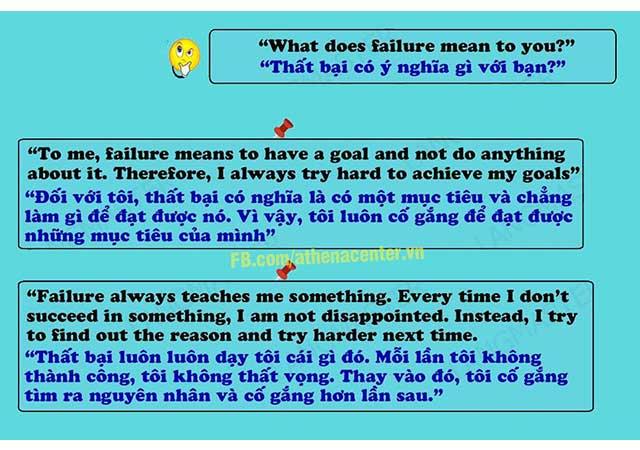 thất bại là gì phỏng vấn tiếng Anh