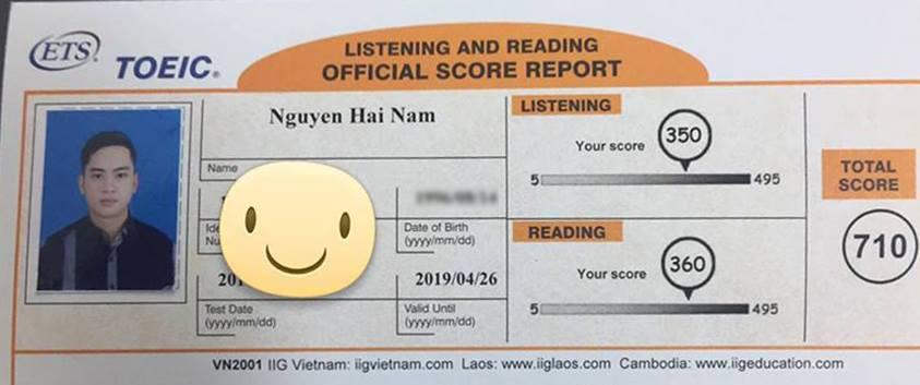 điểm thi toeic Hải Nam