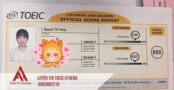 điểm thi toeic Nguyễn Thị Hằng
