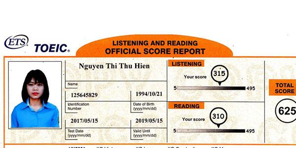 điểm Toeic Nguyễn Thị Thu Hiền