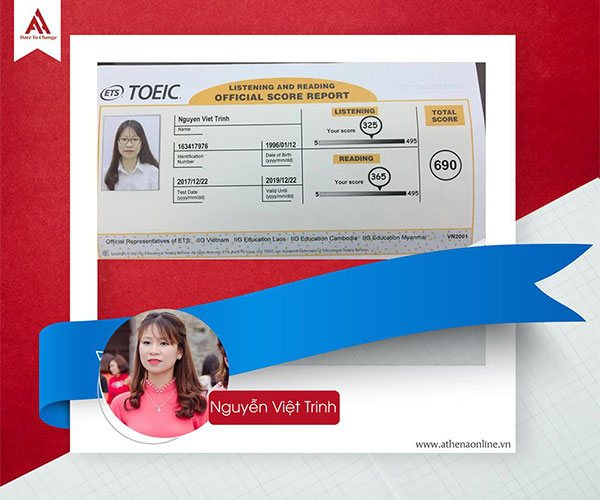 điểm Toeic Nguyễn Việt Trinh