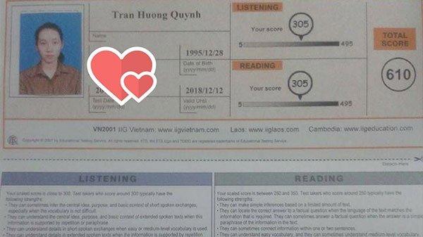 điểm thi toeic Trần Hương Quỳnh