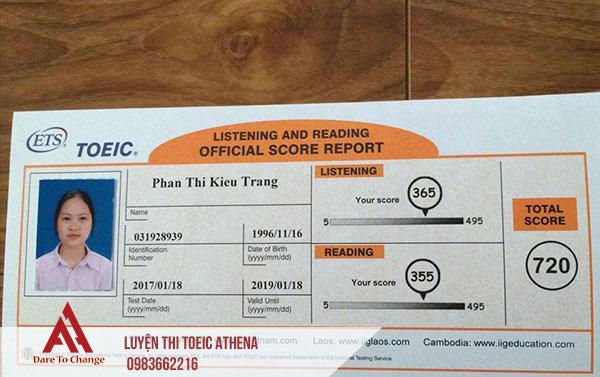 điểm Toeic Phan Kiều Trang